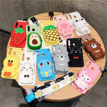 3D Lucky Cat Cartoon Zipper Wallet Phone case for Huawei Y9 Y5 Y6 Y7 Prime Pro 2017 2018 2019 P Smart Z Plus Lanyard Back cover(China)
