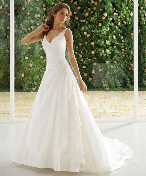 Custom Vestido De Noiva Floor Length Deep V Neck Sleeveless A Line Free Shipping Bridal Gown 2018 Mother Of The Bride Dresses