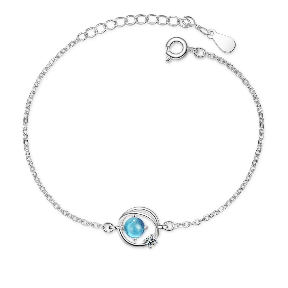 925 Sterling Silver Blue Crystal Planet Charm Bracelet For Women Bracelet &Bangle Fashion Jewelry Birthday Party Gift SL385