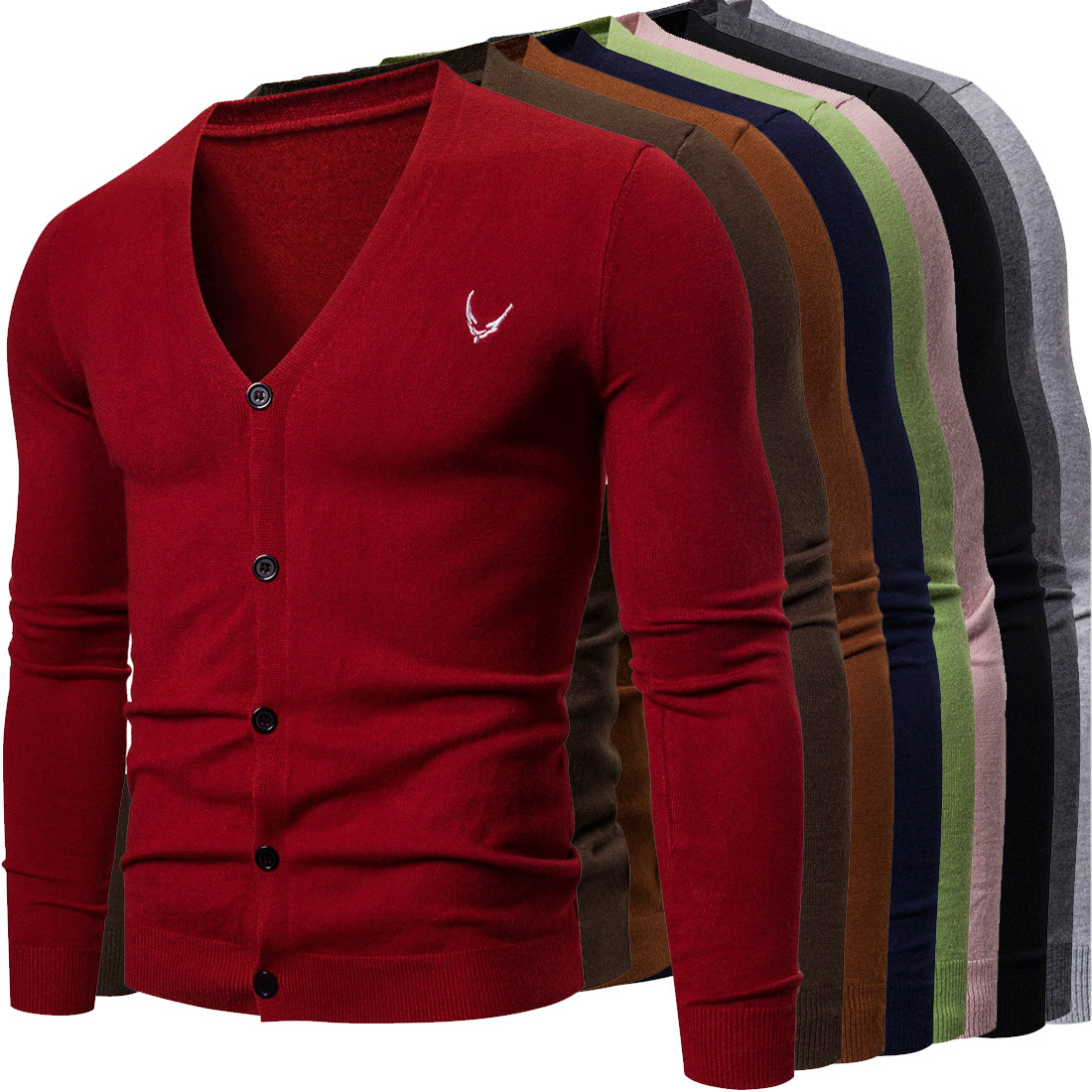 2020 Spring Knitted Jacket Men's Slim Cotton V-neck Single-breasted Sweater Cardigan Casual Korean Men's Sweater Coat