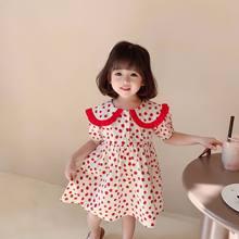 Summer baby girls cute dot printed trun-down collar princess dresses 2021 fashion short sleeve casual dress