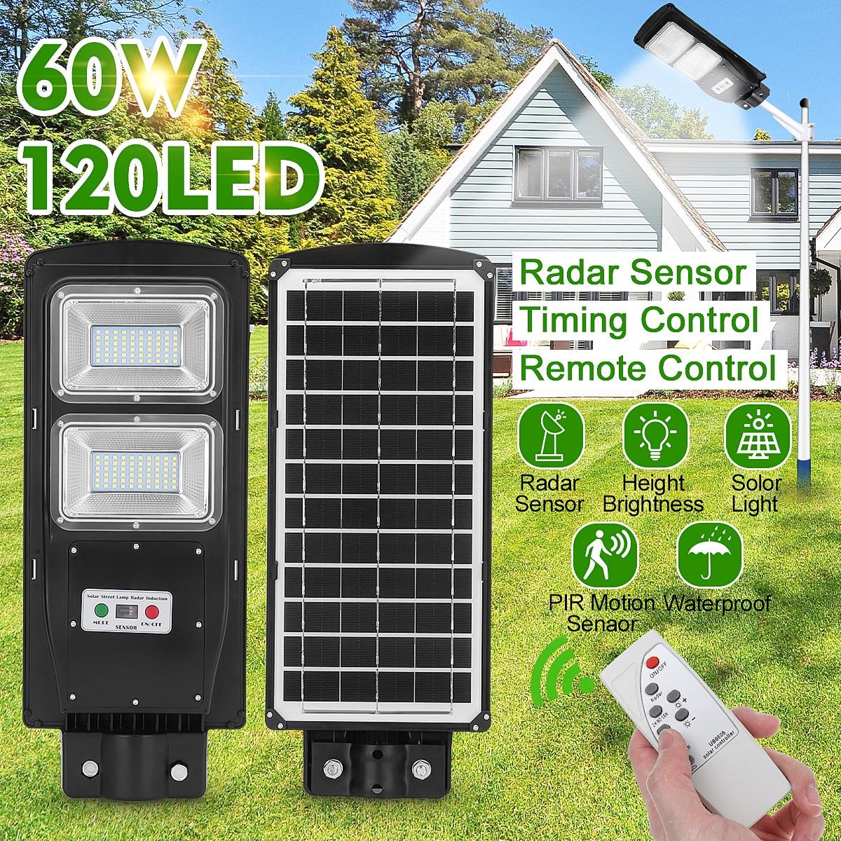 Remote Control LED Street Light 60W LED Solar Light Radar PIR Motion Sensor Wall Timing Lamp Waterproof for Plaza Garden Yard