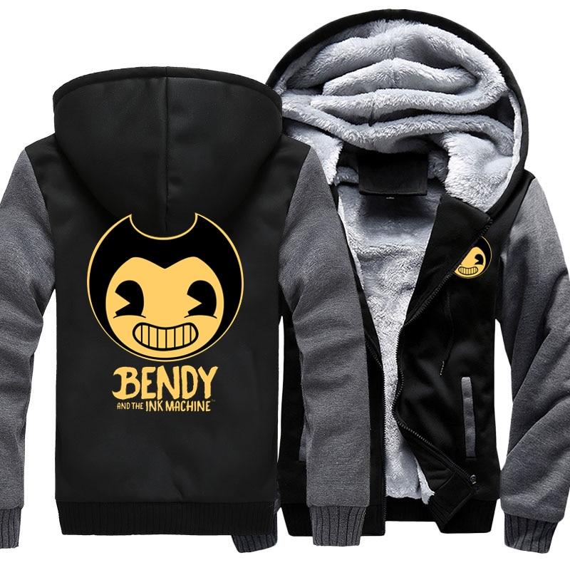 Game Bendy And The Ink Machine Hoodie Sweatshirt Men Coat Jacket Outwear Thicken Winter Warm Hoodies Sweatshirts US Size