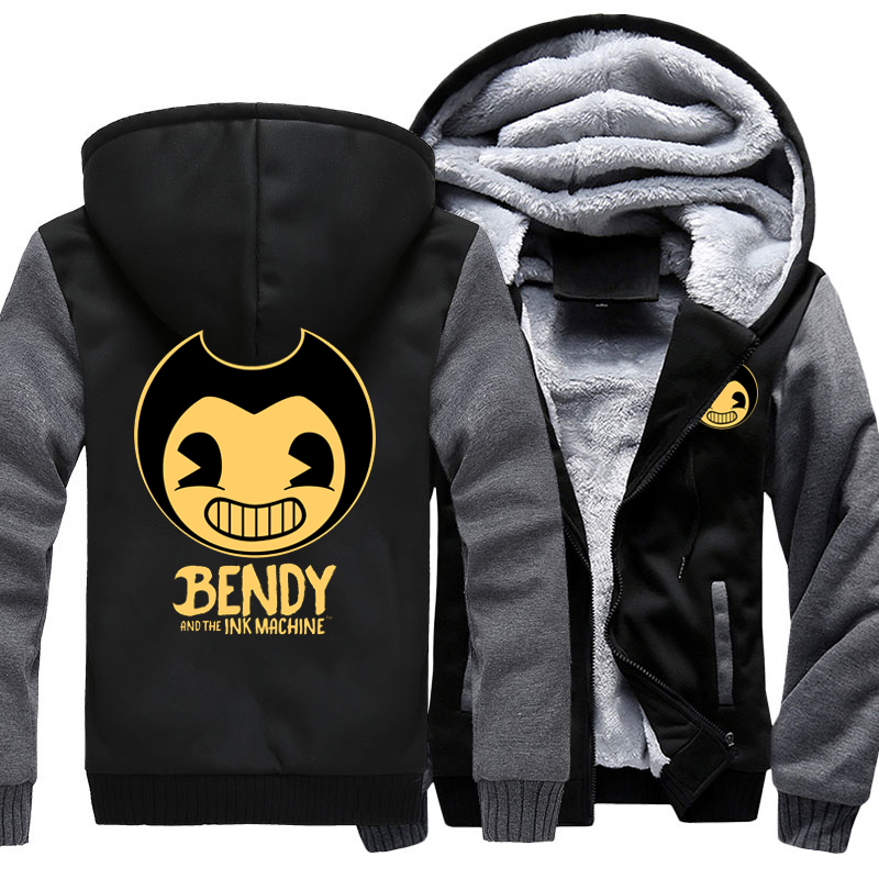 Game Bendy and the Ink Machine Hoodie Sweatshirt Men Coat Jacket Outwear Thicken Winter Warm Hoodies Sweatshirts US Size