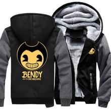 Game Bendy en de Inkt Machine Hoodie Sweatshirt Mannen Jasje Uitloper Thicken Winter Warm Hoodies Sweatshirts AMERIKAANSE Maat