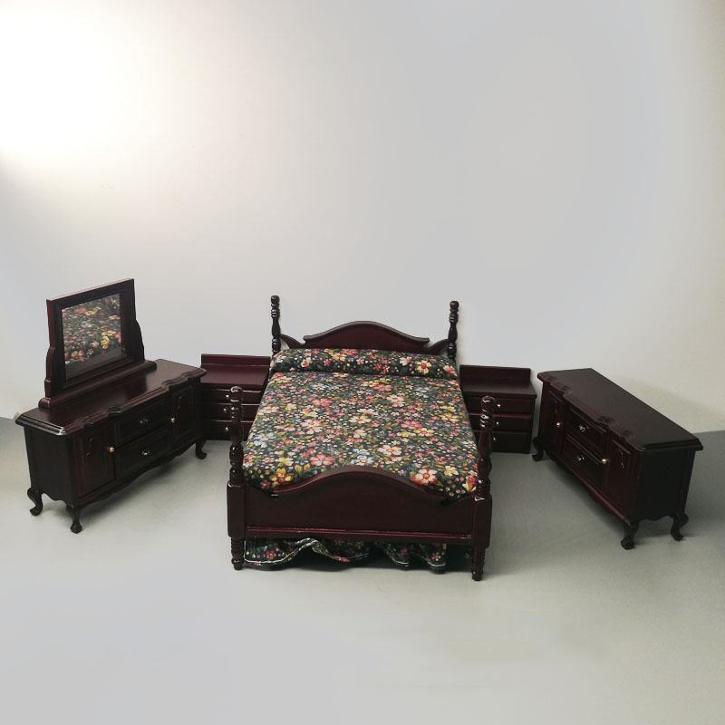 1:12 Dollhouse Furniture toy for dolls black Wooden Miniature simulation <font><b>bed</b></font> bedroom sets pretend play toys gifts collection image