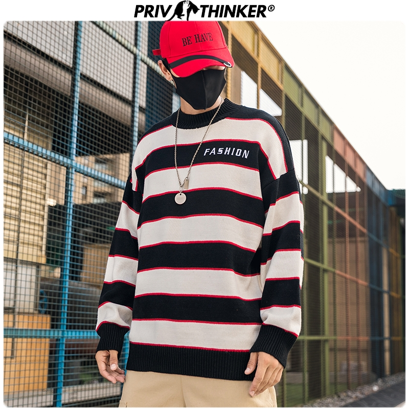 Privathinker Men's Japan Style O-Neck Knitted Sweaters Men Striped Hip Hop Streetwear Autumn Pullovers Male 2019 Fashion Sweater