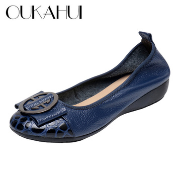 Womens Genuine-Leather Ballet Flat-Shoes