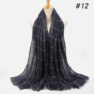 Image 3 - ลายสก๊อตคลาสสิกผ้าคลุมไหล่ผ้าฝ้ายมุสลิมHijabผ้าพันคอสำหรับสุภาพสตรีCross StripesสีอิสลามHijabsผ้าพันคอผ้าคลุมไหล่