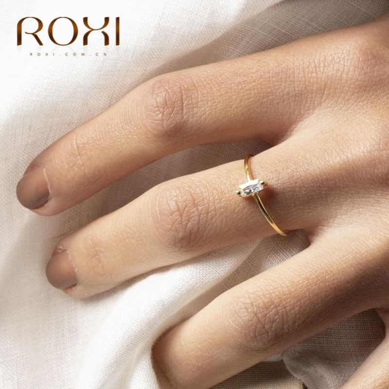 ROXI 925 Sterling Silver Ring Wedding Engagement Gift Rectangle Zirconia Crystal Finger Rings For Women Jewelry Thin Couple Ring