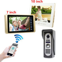 7 Inch Wired WiFi Smart IP Video Door Phone Intercom System with 1x1000TVL Wired Doorbell Camera,Support Remote unlock