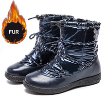 2019 New Winter Boots Women Snow Fur Warm Ankle For Shoes Waterproof Padded Female Lace-up