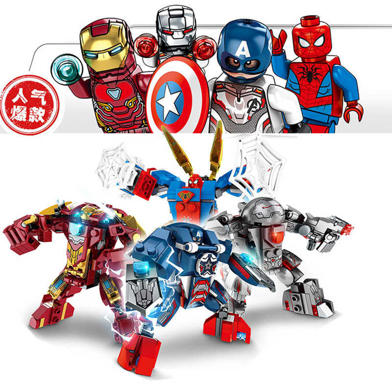 The Avengers Acciaio Hawk Mecha Spider-Man Mecha Building block Giocattoli Compatibile con Legoinglys Assembl Per Bambini Regali Di Natale