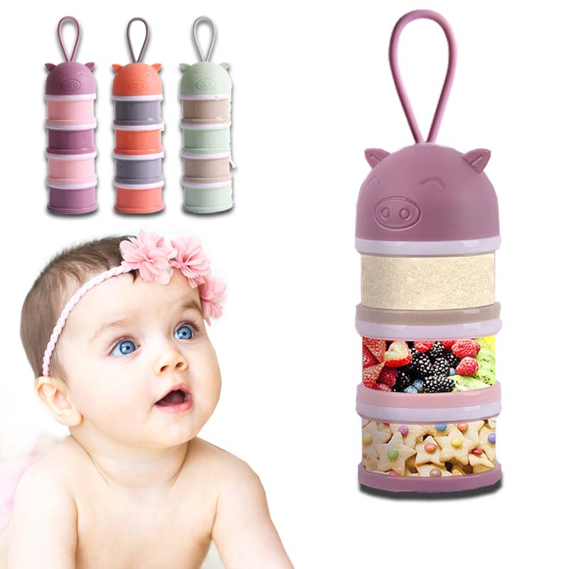 Baby Food Storage Box 480ml Essential Cereal Milk Powder Boxes Portable Toddle Kids Milk Container 4 Layer 22cm Detachable