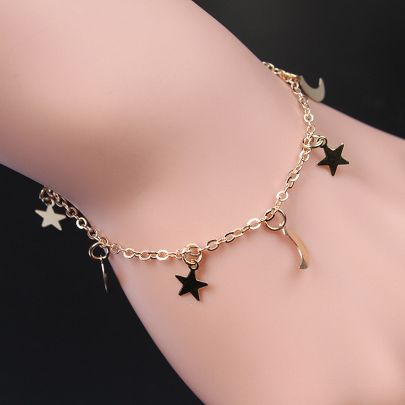New Fashion Gold silver Moon Star Charms bracelet for Women Accessories Bracelets 4g 4