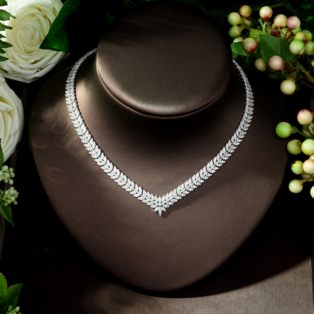 Jewelry Sets bfx0023 HIBRIDE New luxury Zircon Micro Pave Set Necklace Earrings Bracelet four piece Women Weeding Jewelry Set