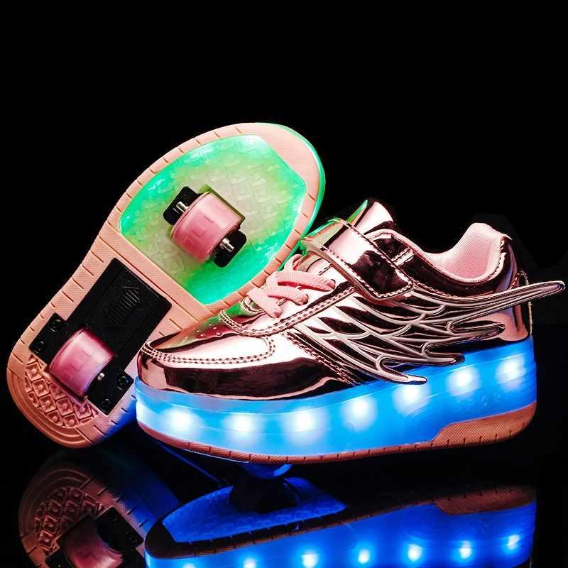 Детская обувь; обувь для мальчиков и девочек; светильник на двух колесах; Светящиеся кроссовки; Зарядка через usb; Светодиодный светильник; обувь для роликовых коньков