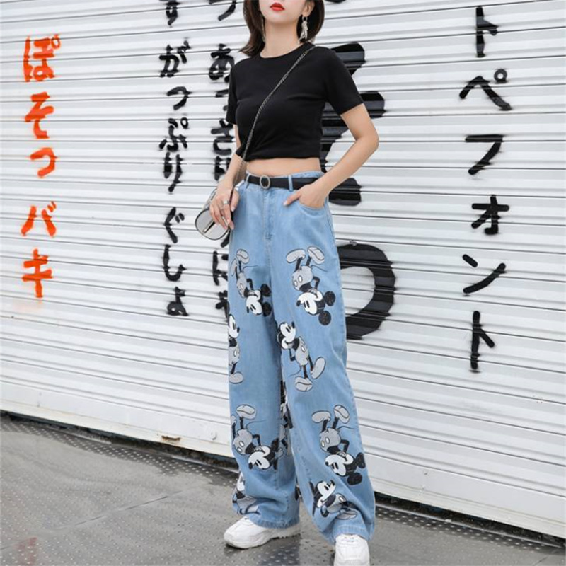 Cartoon Print Vintage Loose Boyfriend Jeans With High Waist Wide Leg Jeans For Women Female Mom Long Baggy Straight Denim Jeans