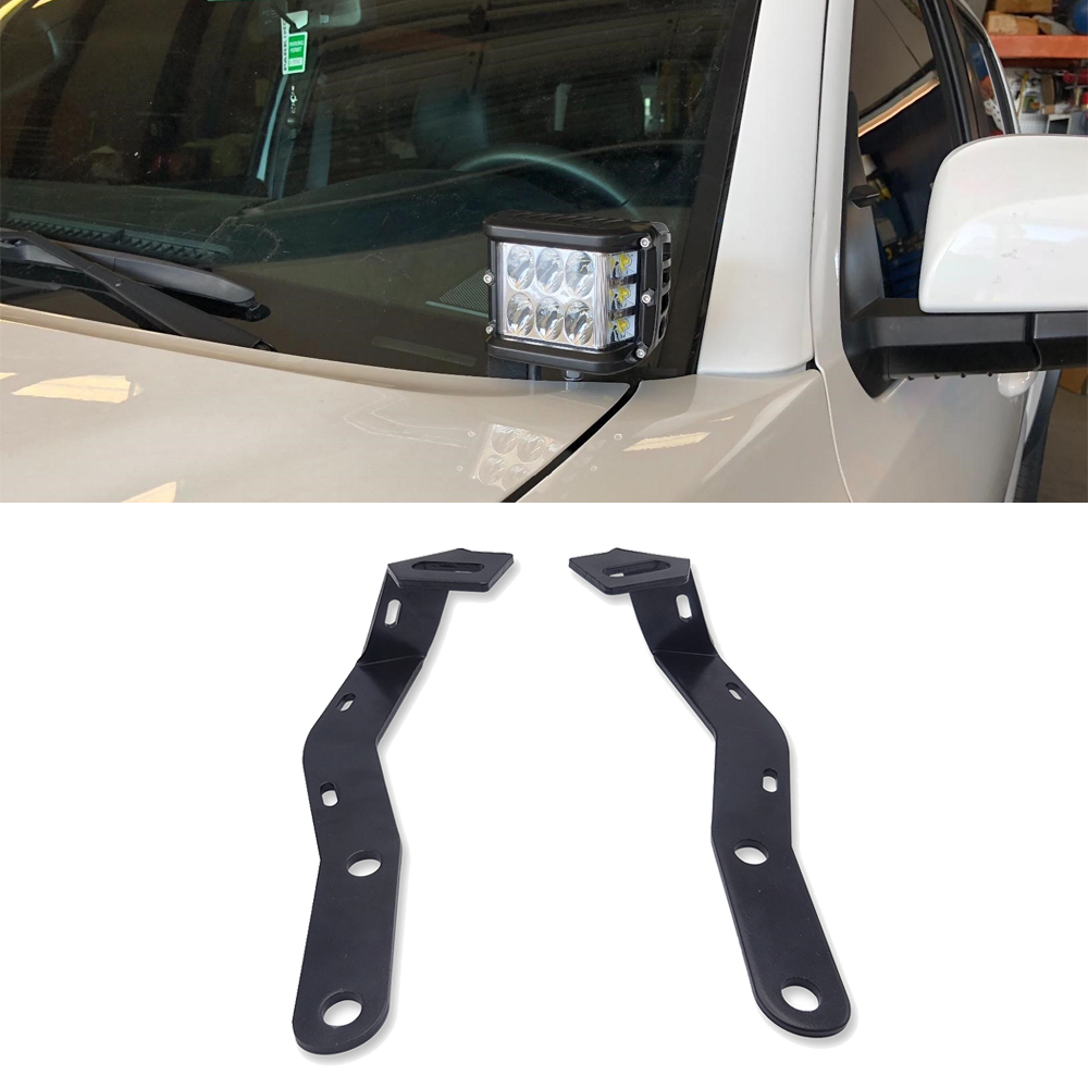 Upper Hood Left And Right Side Pillar LED Work Light Ditch Mount Brackets For Toyota Tacoma 2016-2019