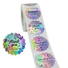 500 sztuk/rolka okrągła dziękuję za wsparcie mojej małej firmy naklejki kolorowe kwiatowe srebrne Diy Handmade Seal etykiety naklejki
