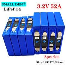 Lifepo4-Batería de 3,2 v y 52Ah para coche eléctrico, 3,2 v, 50Ah, batería de litio, celda de fosfato de hierro, 12v, 24v, 36v, inversor solar, carrito de golf, novedad, 8 Uds.