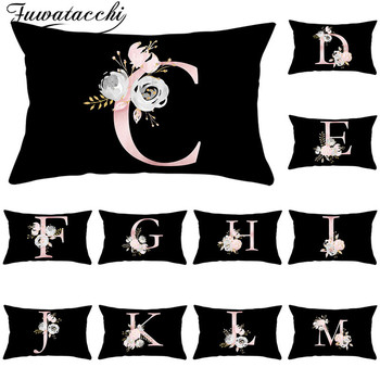Fuwatacchi 26 Alphabet Flower Throw Pillowcase for Home Decorative Pillows Covers Black Pink Rectangle Cushion Cover 30*50cm fuwatacchi ocean mermaid starfish pattern cushion cover cartoon throw pillowcase for home sofa decorative pillows covers 30 50cm