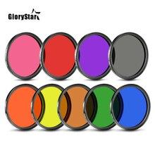 Color de filtro colorido FLD naranja, rojo, amarillo, verde y azul 30 49MM 52MM 55 58MM 62MM 67MM 72MM 77MM para cámara DSLR Canon Nikon Sony