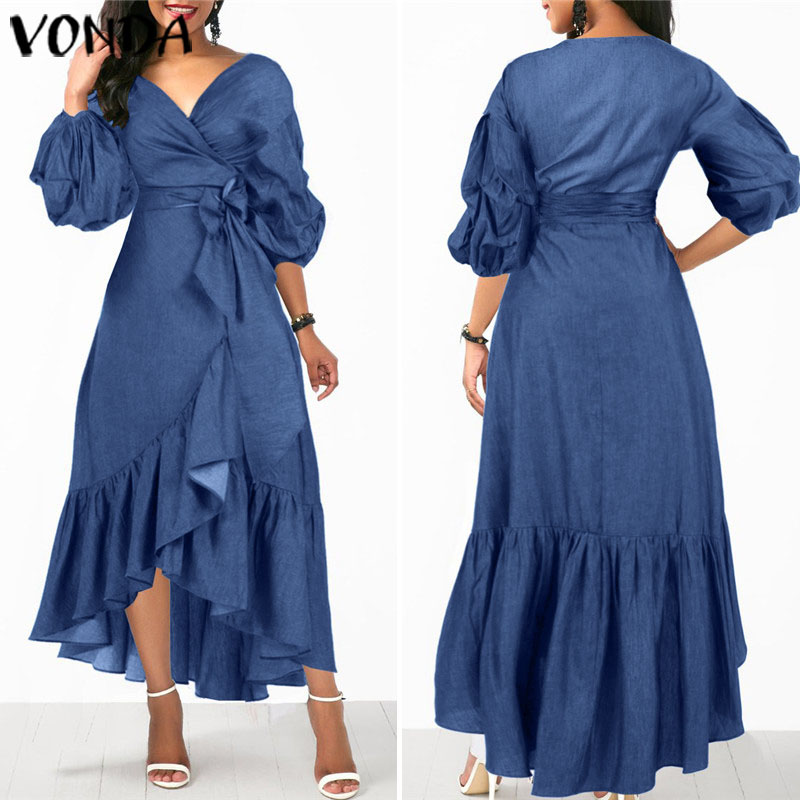 VONDA Summer Long Maxi Dress Women 2020 Sexy V Neck 3/4 Lantern Sleeve Dresses Casual Loose Bohemian Sundress Plus Size Vestidos