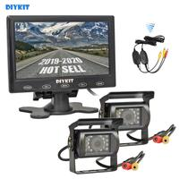 DIYKIT 12V DC Wireless 7 Touch Car Monitor Rear View Kit Backup Waterproof CCD Camera Kit System for Horse Trailer Motorhome
