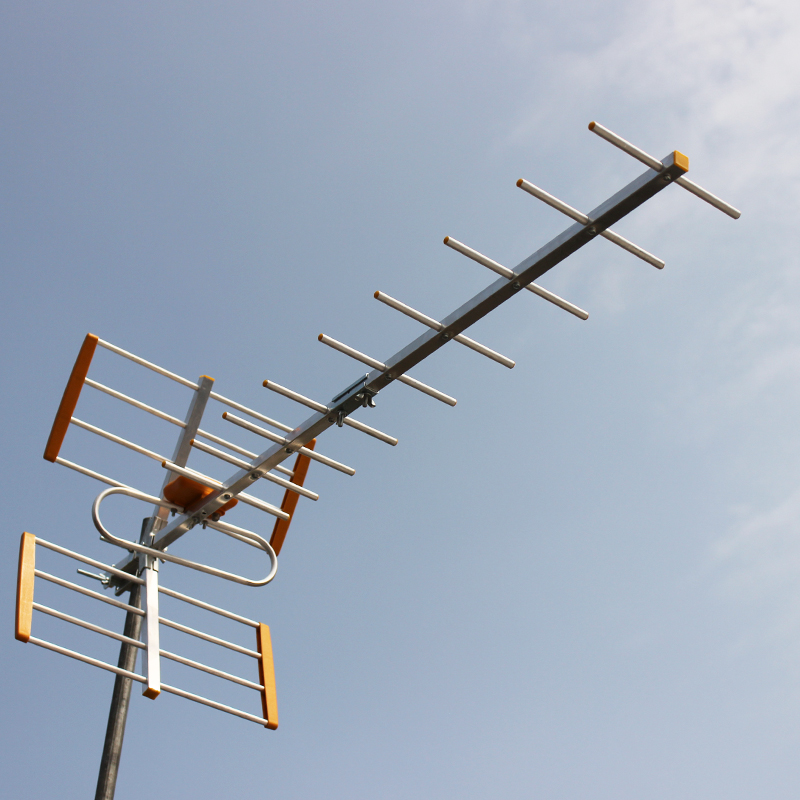 Antena de alta ganancia HDTV HD Antena Digital de TV al aire libre para DVBT2 HDTV ISDBT alta ganancia señal fuerte antena de TV al aire libre ZQTMAX, Antena Yagi de 9 unidades de 13dB para señal de móvil, amplificador gsm 800 850 900 MHz, banda GSM CDMA B20