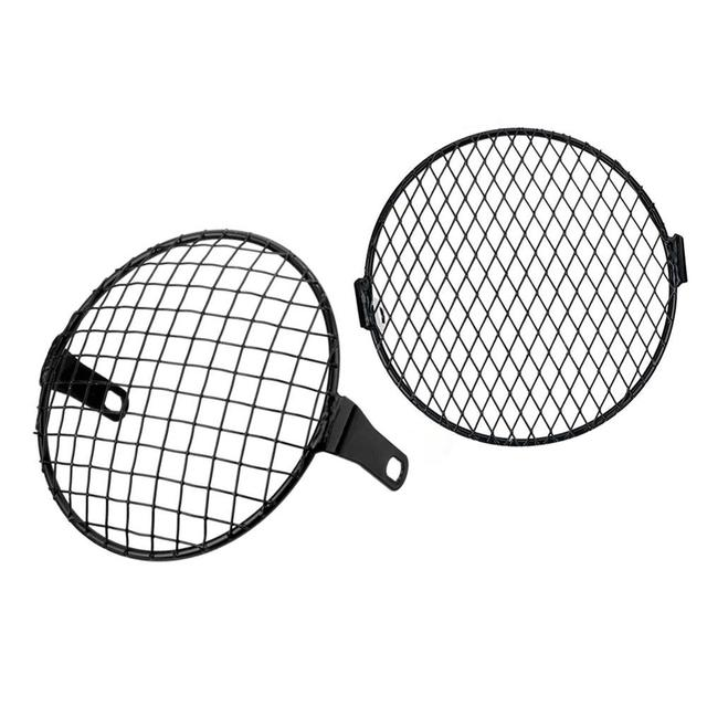 7'' Motorcycle Headlight Metal Mesh Grill Mask Protector Guard Side Mount Cover For Honda 2