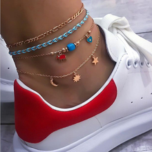 docona 4pcs/set Bohemia Star Moon Sun Elephant Heart Charms Anklet Set for Women Multilayer Chain Anklets Jewelry 8499 chic multilayer small bells anklet for women