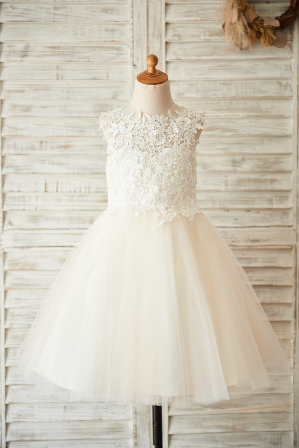 Flower Girl Dress With Bow Sashes  Ball Gown Scoop Knee-length Sleevelss Lace Tulle Backless Zipper-up