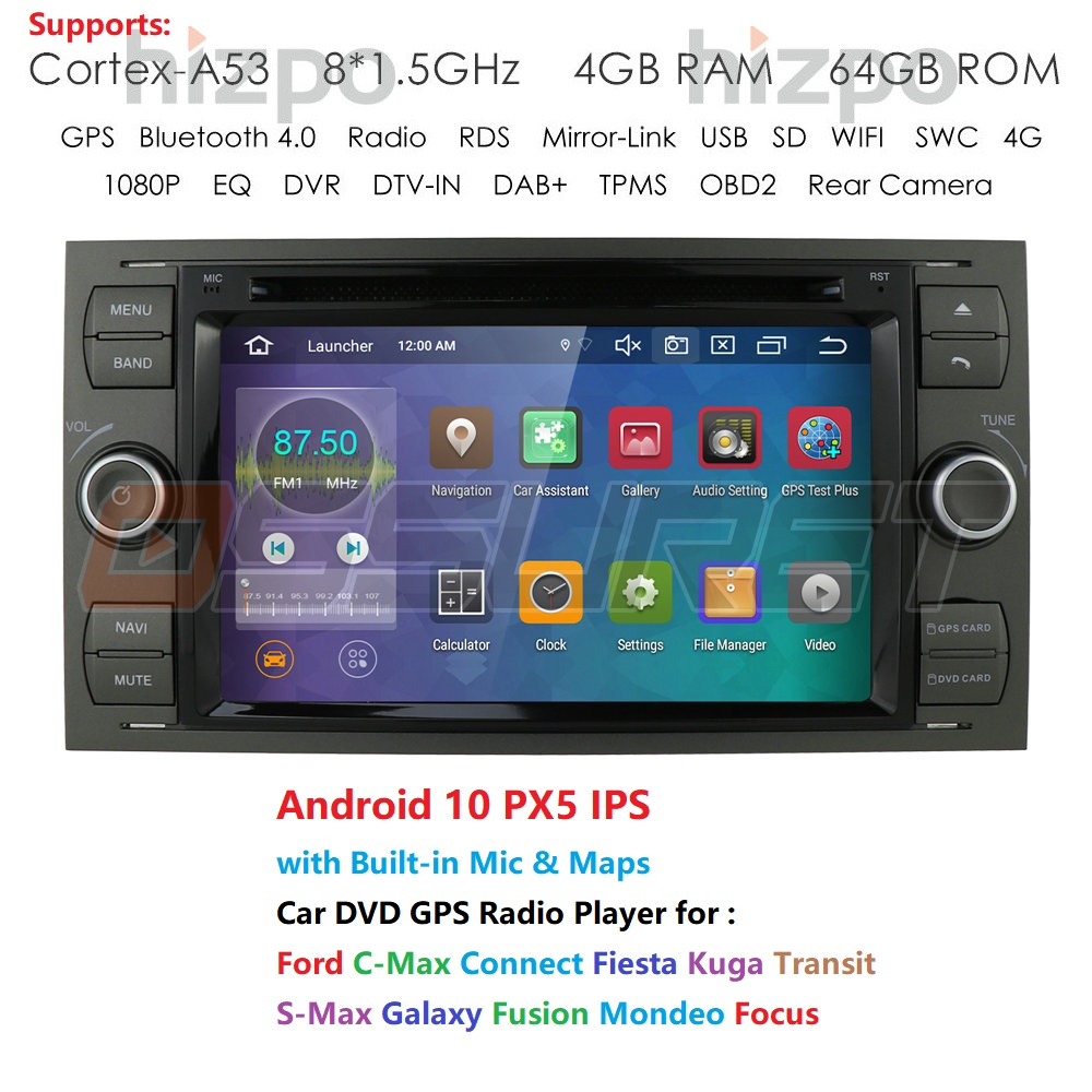 Car Multimedia Player Android 10 <font><b>GPS</b></font> <font><b>Autoradio</b></font> <font><b>2</b></font> <font><b>Din</b></font> 7 Inch For Ford/Mondeo/Focus/Transit/C-MAX/S-MAX/Fiesta 4GB RAM 64G ROM DVD image