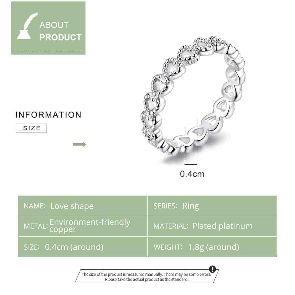 BAMOER โรแมนติกเงินสีหัวใจแหวน AAA Zirconia แหวนราคาถูกสำหรับเครื่องประดับงานแต่งงานของผู้หญิง Dropship PA7223