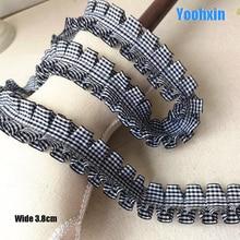 Tela de encaje negro bordado 3D de algodón, 3,8 CM de ancho, costura de Dubái, aplique, collar de cinta, decoración de guipur