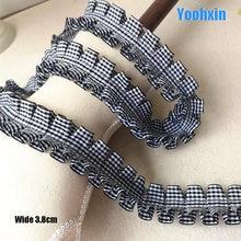 Tissu en coton brodé en dentelle noire 3D, 3.8CM de large, couture de dubaï, garniture de bricolage, applique de col de ruban, robe, décor guipure
