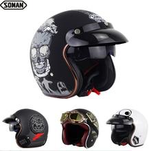 New Open Face DOT Scooter Helmet with Visor Retro Half Face Chopper Hel