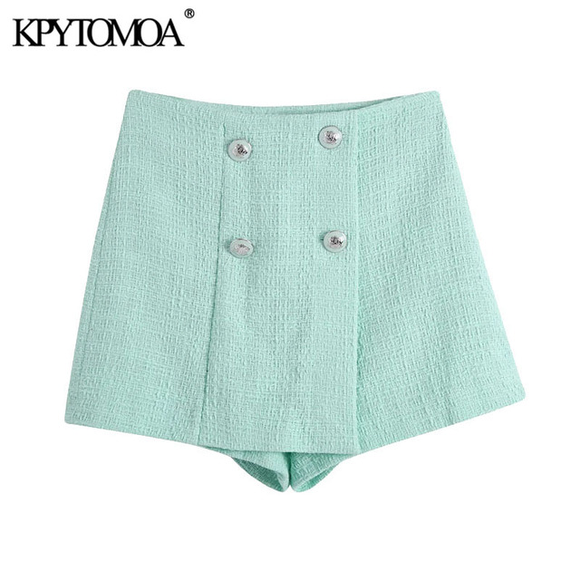 KPYTOMOA Women 2021 Chic Fashion With Buttons Tweed Shorts Skirts Vintage High Waist Side Zipper Female Skorts Mujer 1