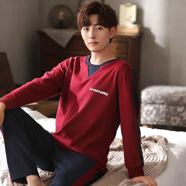 Solid Man Clothes Letter Printing Homesuit Homeclothes Sleepwear Pajamas Set Man Pijamas Loungewear Man Sports Style 1