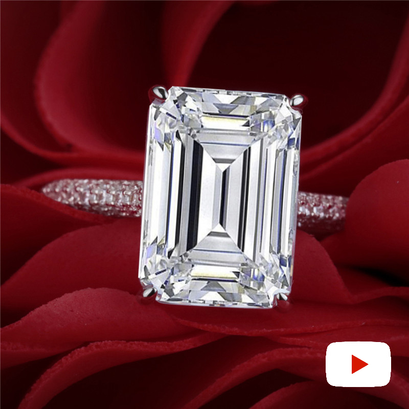 10*14mm 6 Carat Emerald Cut Diamond Ring Not Fake S925 Sterling Silver Fine Wedding Proposal Anniversary Yes I Do Engagement