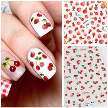 1pc Cherry Nails Sticker Fruit 3D Stickers for Summer Peach Lemon Strawberry Nail Art Transfer Decals Adhesive Slider Sticker