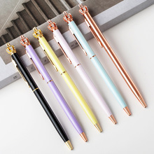 Creative Diamond Pen Golden Crown Ballpoint Pens Writing School Office Supplies Cute Kawaii Rotating Ballpoint Pens diamond ballpoint pen japanese cartoon sailor moon pen goddess scepter kawaii pen student pennen pink cute girl ball point pens