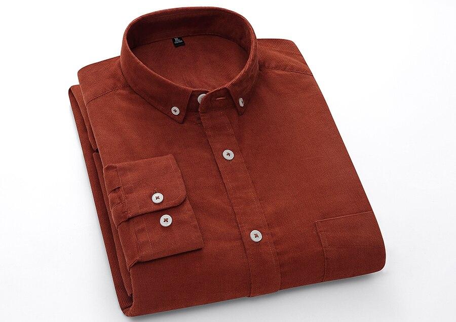 Hda6e4805fa6a44c8bf31d04839da4a136 Casual Mens Corduroy Shirt Pure Cotton Long Sleeve Brown Thick Winter XXL Regular Fit New Model Male Button Down Shirts