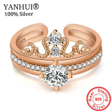 YANHUI 3Pcs/Set Fashion Silver/Rose Gold Color Crown Crystal Rings Set For Women Girls Engagement Wedding Stackable Rings  JZ344 недорого