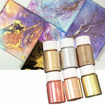 6 Colors 10g Mirror Marble Metallic Resin Pigment Kit Pearl Powder Epoxy Colorant Glitter Dye Jewelry Making - discount item  18% OFF Art Supplies