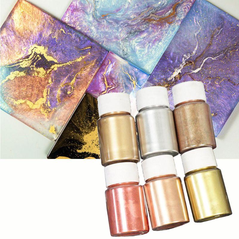 6 cores 10g espelho de mármore metálico resina pigmento kit pérola em pó cola epoxy resina colorante brilho tintura resina jóias fazendo