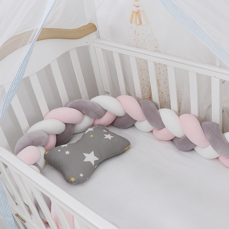 3M Baby Bumper Bed Weaving Plush Baby Crib Protector Infant Braid Knot Pillow Crib Infant Room Decor