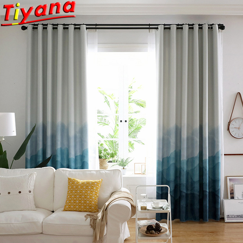 Chinese Classic Mountain Curtains For Living Room Blue Blackout Window Drapes Panel China Landscape Curtains For Bedroom AF056#2