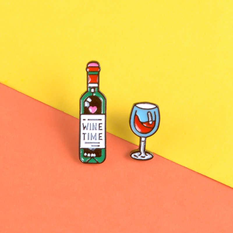 飲料時間エナメルピン赤ワインボトルエレガントなゴブレットブローチ今日は金曜日ラペルピンバッジデニムバッグジュエリー Drunkard ギフト
